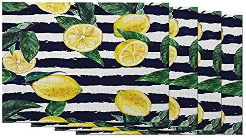 aipipl Zitronen Tischsets 4er-Set Gesundheit Frische gelbe Früchte Citric Vivid Zest Black Stripes Hintergrund Tischsets für Esstisch 12X18 Zoll Baumwolle Leinen für die Küche zu Hause
