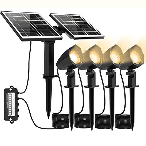 MEIHUA Solar Strahler 4 Stück Solar Gartenleuchte IP66 wasserdichte, Solarlampen für außen, mit Erdspieß, für Gärten, Sträucher und Bäume Warmweiß [Energieklasse A+++]