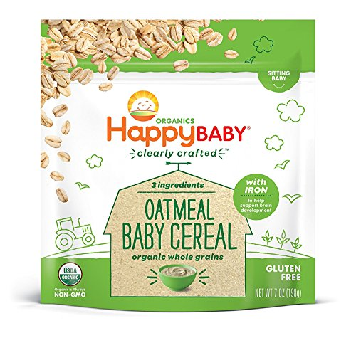 Image of Happy Baby Organic Clearly Crafted Cereal Whole Grains Oatmeal, 7 Ounce Bags (6 Count) Organic Baby Cereal in a Resealable Pouch with Iron to Support Baby's Brain Development a Great First Food