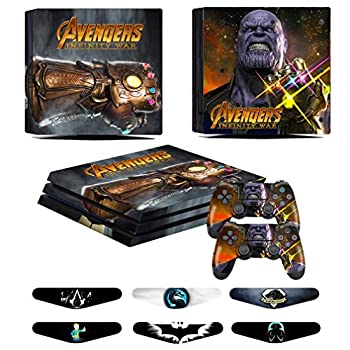 PS4 Pro Skins - Decals for PS4 Controller Playstation 4 Pro - Stickers Cover for PS4 Pro Controller Sony Playstation Four Pro Accessories with Dualshock 4 Two Controllers Skin - Thanos