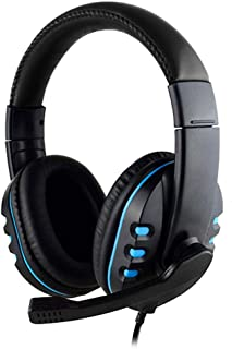 3.5Mm Wired Gaming Headset with Cable, Professional Headset with Microphone, HD Computer, Black + Blue