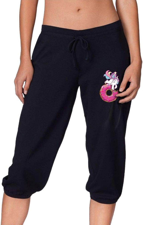 Pantsing Unicorn Donut Cute Women's Fit Active French Terry Capri Pants