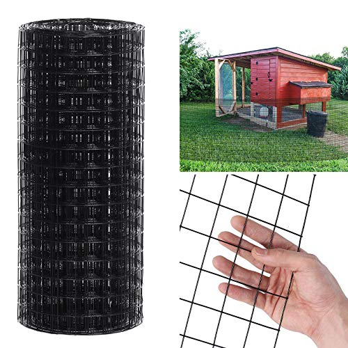 Hardware Cloth Black Vinyl Coated Wire Mesh 4ft x 50ft, 1.5'' x 1.5'' Grid 16 Gauge Chicken Wire Fence for Chicken Coop/Run/Cage/Pen/Vegetables Garden and Home Improvement Project