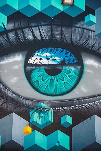 GHIJVYG Malen nach Zahlen DIY Ölgemälde Vorgedruckt Leinwand Leinwanddruck Wandkunst Dekoration Blaue Brillenwelt(Ohne Rahmen)