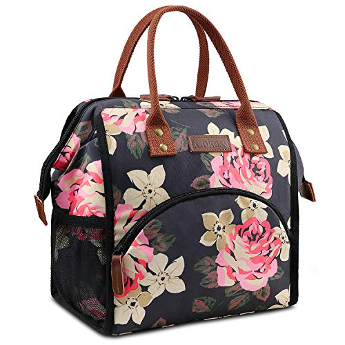 LOKASS Lunch Bag Insulated Lunch Box Wide-Open Lunch Tote Bag Large Drinks Holder Durable Nylon Thermal Snacks Organizer for Women Men Adults College Work Picnic Hiking Beach Fishing,Peony