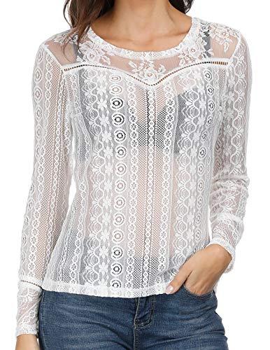Women's Sexy Sheer Mesh T-Shirt Crop Top See Through Lace Shirt Blouse White M