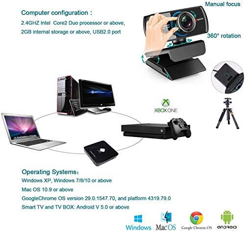 Angetube HD Gaming Webcam 1080P mit Mikrofon, USB PC Streaming Webcam mit Breitbild-Videoanrufen und Aufnahmeunterstützung Skype OBS Xbox XSplit Facebook YouTube kompatibel für Mac OS und Windows
