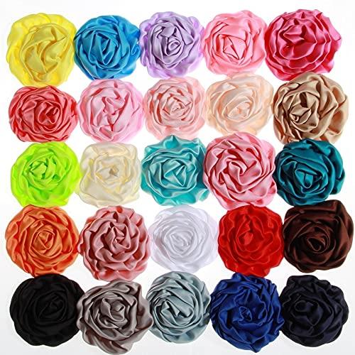 AGAN 10pcs 3 7,6cm Nueva Gasa Volantes Rose Bud Flores Artificiales para...