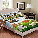 richhome Juego de sábanas de ratones con diseño de hámster pequeño, juego de cama para niños, ropa de cama de 3 piezas