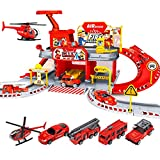 Fire Truck Toys for Kids Boys Girls - Large City Fire Station Playset Building Toys with Siren Lights Sounds