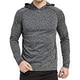Men's Shirt Workout Running Athletic Hoodie Long Sleeve Hoodie Lightweight Training Pullover Casual Hooded Sweat shirt (Sports/Black, Large)