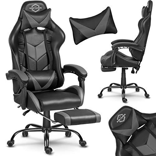 Silla de oficina para gaming, silla de oficina, silla de escritorio, asiento deportivo con reposacabezas y cojín lumbar, con reposapiés, piel sintética, altura regulable, Cerber Sofotel (negro y gris)