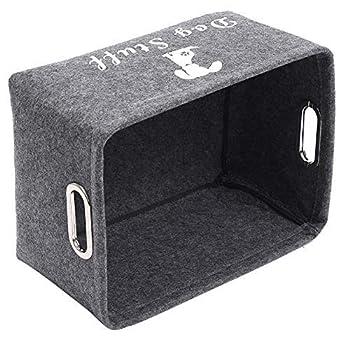 Ctomche Panier de rangement en feutre pour jouets et accessoires pour animaux domestiques, couvertures, laisses et nourriture, grande boîte de rangement pour jouets pour chien Gris