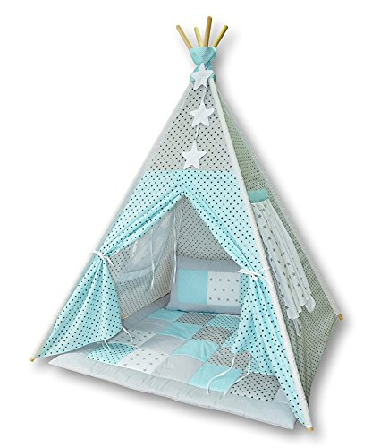Amilian Tipi Spielzelt Zelt für Kinder T08 (Spielzelt mit der Tipidecke und Kissen)