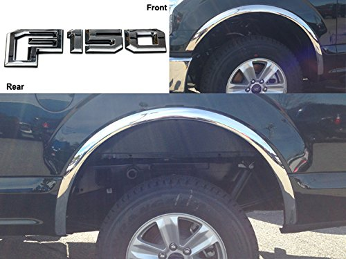QAA fits 2015-2017 Ford F-150 4 Piece Molded Stainless Steel Wheel Well Fender Trim Molding, No Factory Flares WZ55308