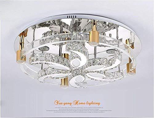 Séjour LED 3 helderheid, K9, kristal en chroom, spiegel, kroonluchter, roestvrij staal, hanglamp, LED-lamp en afstandsbediening (D50 cm x H22 cm) glanzend/D80 cm x H22 cm