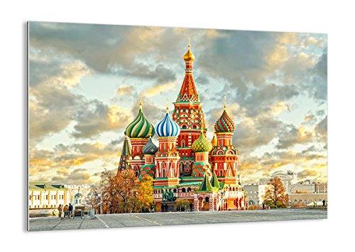 Cuadro sobre vidrio - Impresiones sobre Vidrio - Rusia moscú catedral cuadrado rojo - 100x70cm - Decoracion de Pared - Impresión en Vidrio - Cuadro en vidrio - Cuadro de Cristal - GAA100x70-2821