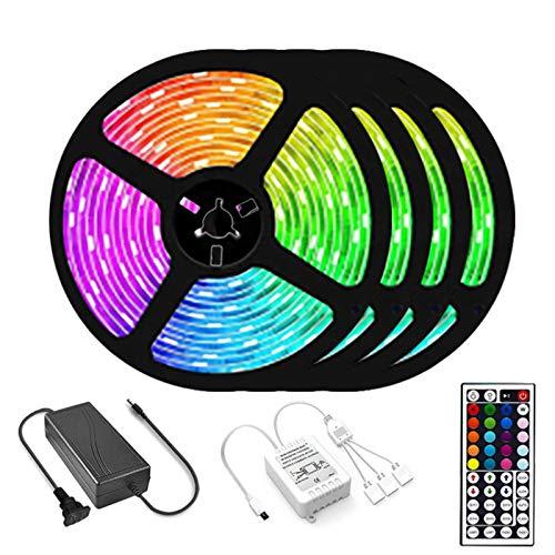 LED Striplight LED Luces de Cadena, Adaptador de Corriente 5050 RGB 12V Cambio de Color del Control Remoto de 44 Teclas Luces Navidad USB y Luces de Hadas for TV Cocina Fiesta en casa Decoración, 5m/r