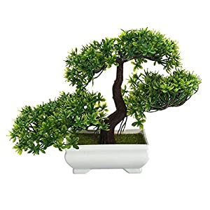 NiGGstore Modern Green 180mm Artificial Planter Plastic Bonsai Tree In Square Pot Home Garden Office Plant – Olive Bamboo Indoor Small Bonsai Leaf Artificial Branches Trees Bloomn Che