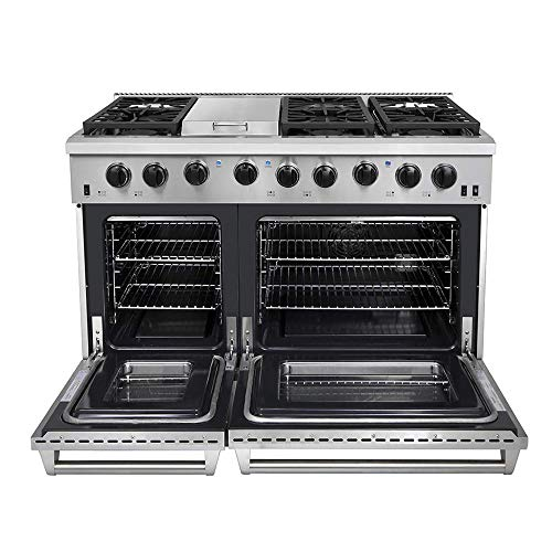Thor Kitchen 48' Stainless Steel Gas Range Black Porcelain Drip Pan with Double Oven Automatic...