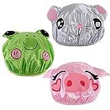 kilofly 3pc Waterproof Reusable Bath Hat Kids Fun Cartoon Animal Shower Caps Set