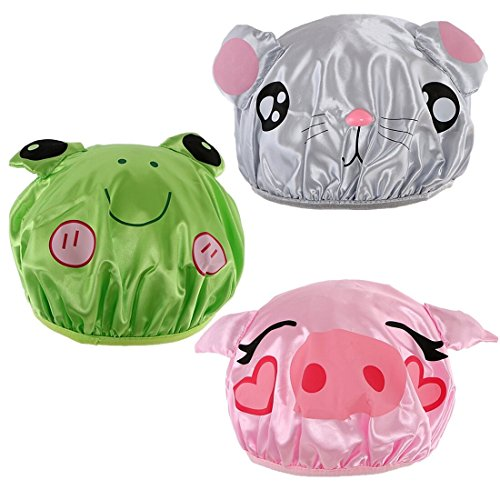 kilofly 3pc Waterproof Reusable Bath Hat Kids Fun Cartoon Animal Shower Caps Set