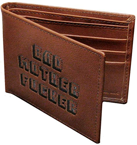 Toynk Pulp Fiction Bad Mother Fker Embroidered Brown Leather Wallet