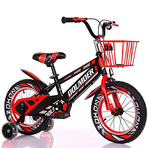 Kinderfiets 12 14 16 18 inch fiets voor 2-9 jaar oud kindercyclus met mand steunwiel, 4 kleuren unisex, rood, 18 inch