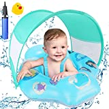 Baby Swimming Float, Fixget Inflatable Pool Float with Removable Sun Protection Canopy, Double Airbag, Baby Swim Waist Ring Inflatable Swimming Pool Floats Toys for Infant Toddlers 6-18 Months