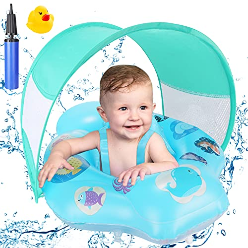 Baby Swimming Float, Fixget Inflatable Pool Float with Removable Sun Protection Canopy, Double Airbag, Baby Swim Waist Ring Inflatable Swimming Pool...