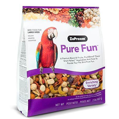ZuPreem Pure Fun Bird Food for Large Birds - Powerful Blend of Fruit, Natural FruitBlend Pellets, Vegetables, Nuts for Amazons, Macaws, Cockatoos (2 lb Bag)