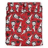 Jaccober Juego de ropa de cama de 4 piezas Bet-ty Boo-p, accesorio de cama, ligero, repele la suciedad, para el dormitorio de casa, color blanco, 228 x 264 cm
