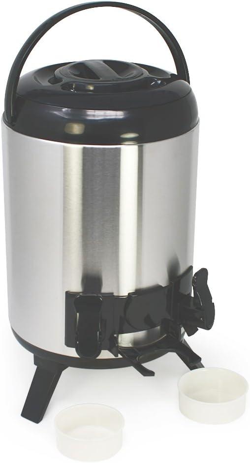 COM-FOUR® Jarra térmica XXL de acero inoxidable con 2 grifos y bandejas de goteo - Airpot para bebidas calientes y frías (01 piezas - 9 litros)