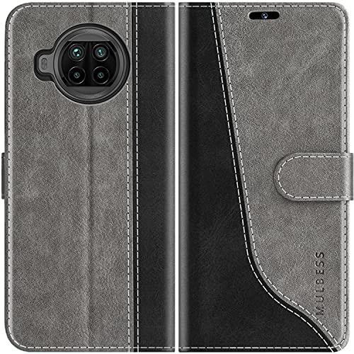 Mulbess Handyhülle Kompatibel mit Xiaomi Mi 10T Lite Hülle Leder, Etui Flip Handytasche Schutzhülle für Xiaomi Mi 10T Lite 5G Hülle, Grau