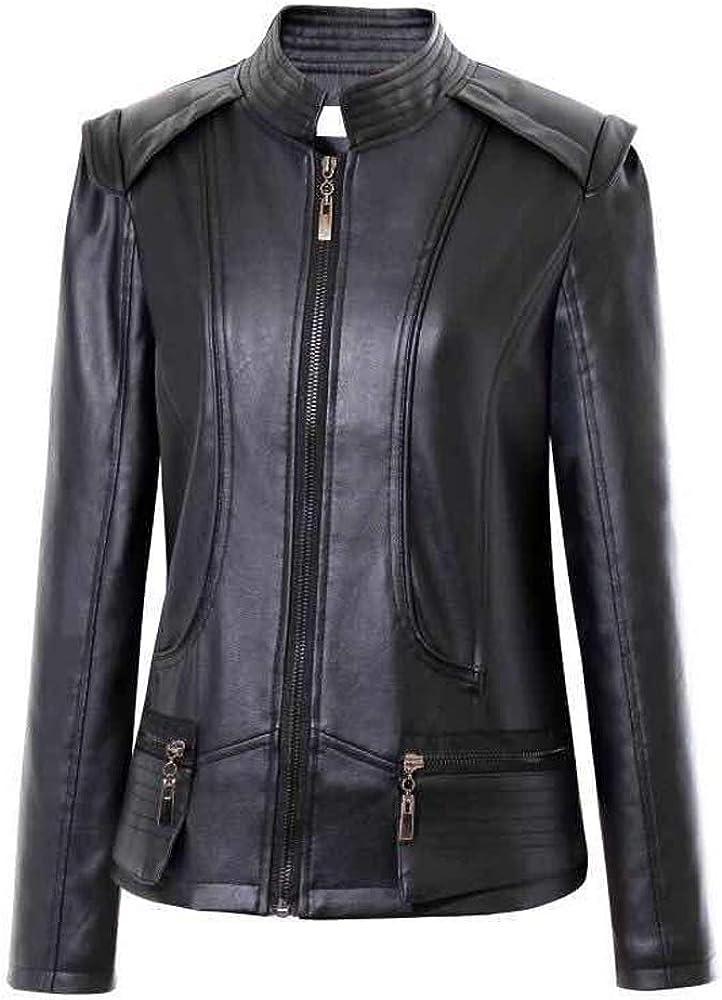 Viport Women's PU Leather Slim Short Moto Jacket