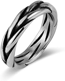 HZMAN بسيطة مغلفة ملتوية حلقة تويست الفولاذ المقاوم للصدأ خاتم زفاف الخطوبة الرجال النساء خواتم الحجم (7-11)