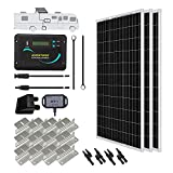 Renogy 300 Watts 12 Volts Monocrystalline Solar RV Kit with 30A PWM LCD Charge Controller/Solar Panel Connectors/Tray Cable/Corner Bracket Mount/Cable Entry housing for RV, Boat