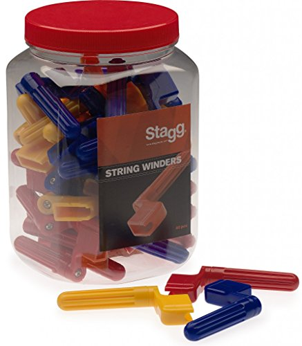 Stagg GSW-40 Jar of 40 String Winders, Assorted Colors