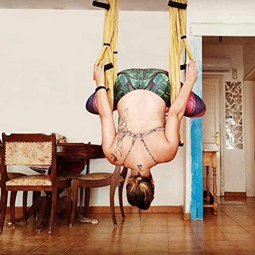 GJCrafts Columpio aéreo de yoga Seguridad Strenthen Yoga Accesorios Columpio antigravedad para yoga Material de alta resistencia Columpio de hamaca de yoga con kit de cabestrillo para gimnasio en casa