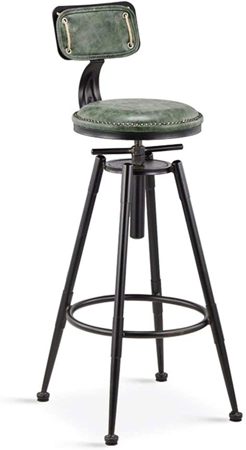 Metal Retro Bar Stool Coffee Chair Lift Dining Chair High Stool Makeup Bench Wrought Iron Chair LEBAO (color    2)
