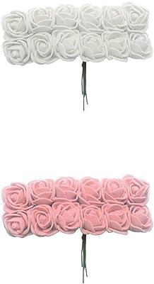 288x Fake Mini Foam Rose Flower DIY Craft Hair Accessory Wedding Decor Grey