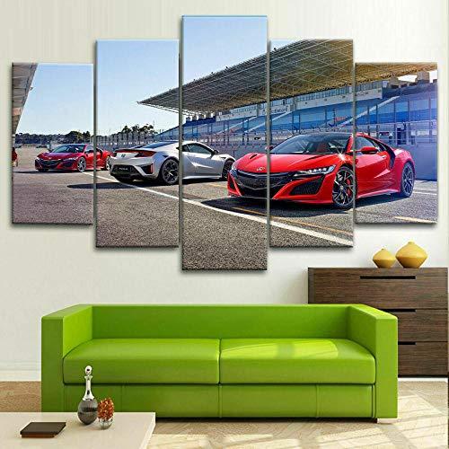 5 Piezas de Arte Marco Cuadros Decoracion Salon Coche Deportivo Hond NSX Moderno HD sobre lienzos impresión Cuadro Usado para Sala Oficina Hogar Decoracion de Pared