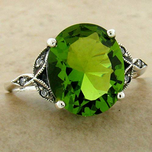 Victorian Solitaire 925 Sterling Silver 3.5 CT SIM Peridot Ring Size 9 KN-3605