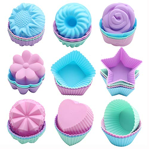 To encounter Silicone Cupcake Baking Cups, 36 Pack Non Stick Cake Molds, 9 Shapes Reusable Silicone Muffin Pan for Baking, Silicone Muffin Liners