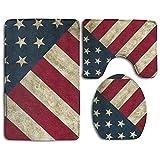 RedBeans WeiGin Vintage Retro USA Flagge American 3-teiliges Badezimmerteppich-Set Anti-Rutsch-Badematte Contour Teppich WC Deckel Abdeckung Home Deko Fußmatte
