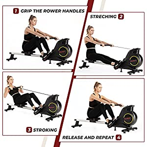 Yovital Rowing Machine for Home Use with Magnetic Resistance, Rower Exercise Equipment for Full Body Fitness, Home Gym Workout Row Machine, Foldable Design, LCD Monitor, Adjustable 8 levels Resistance