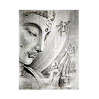 キャンバス絵画抽象黒白宗教仏像壁アートポスタープリントスカンジナビアのリビングルームの家の装飾50x70cmフレームレス