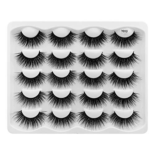 Leipple 3D Mink Lashes - 10 Pairs Professional Handmade Fake Eyelashes - Natural Reusable Thick Fluffy False Eyelashes Faux Mink Eyelashes (Y010)