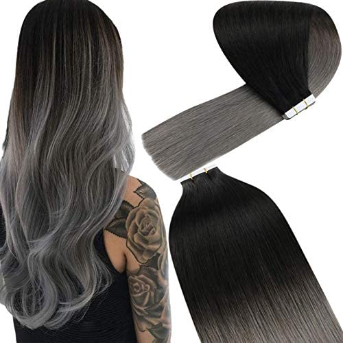YoungSee Ombre Tape in Hair Extensions Black to Blue Grey Double Sided Ombre Tape in Remy Hair product image