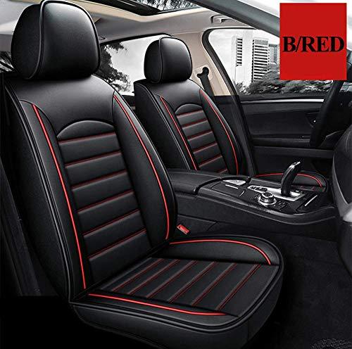 Worth-Mats Compatible con fundas de asiento Porsche Macan de piel sintética para asiento de coche, compatible con airbag - negro/rojo